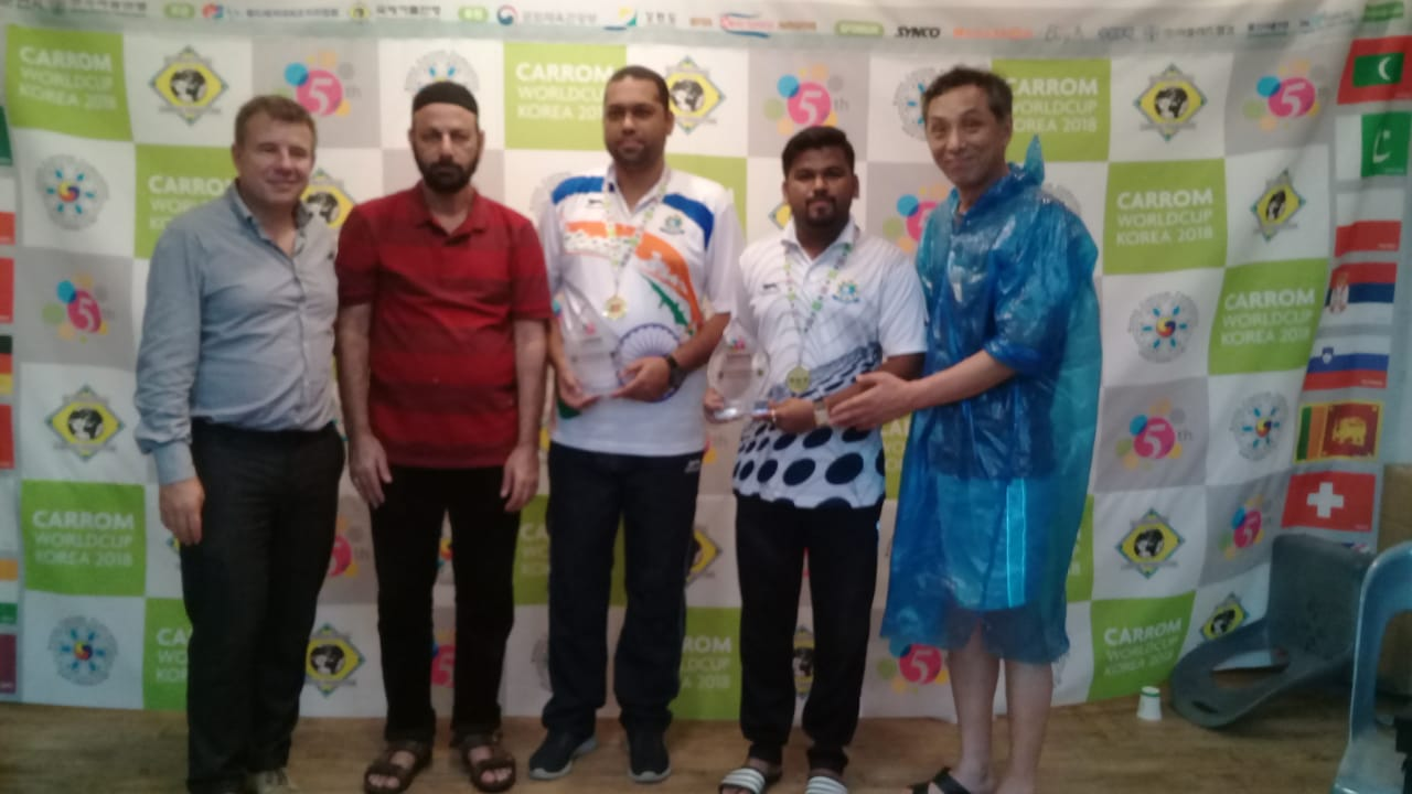 Secretary General PCF Mr Murtaza K Zulfee at 5th Carrom World Cup Prize Distribution Event with President International Carrom Federation Josef Meyer and others (1)