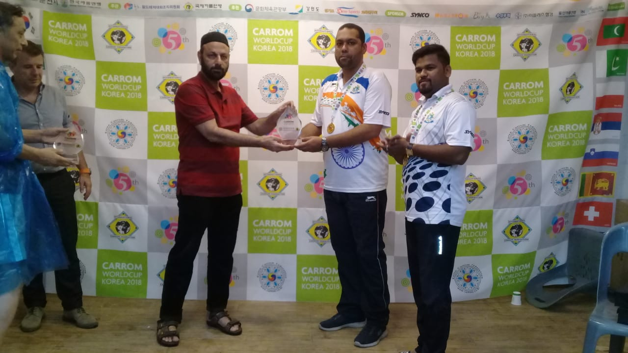 Secretary General PCF Mr Murtaza K Zulfee at 5th Carrom World Cup Prize Distribution Event with President International Carrom Federation Josef Meyer and others (4)