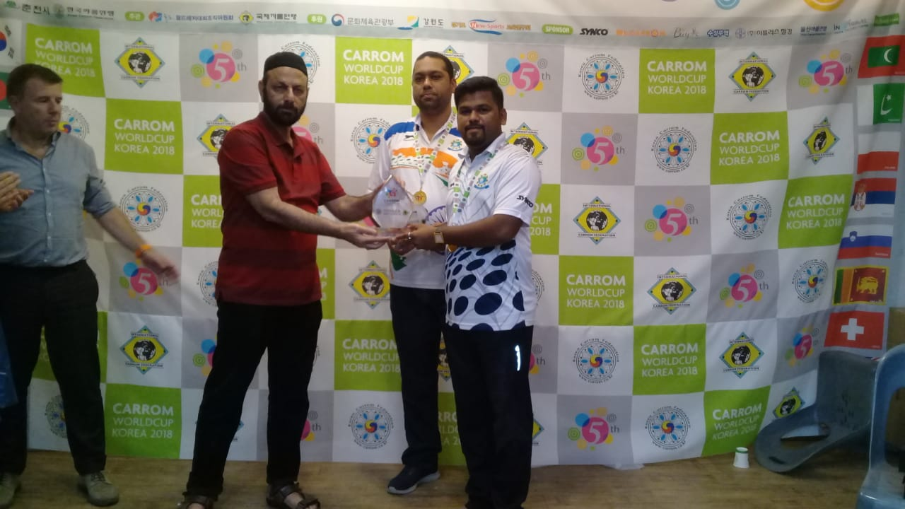 Secretary General PCF Mr Murtaza K Zulfee at 5th Carrom World Cup Prize Distribution Event with President International Carrom Federation Josef Meyer and others (5)